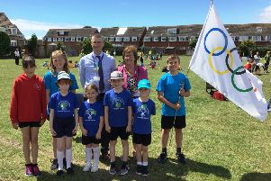 Worthing mayor Hazel Thorpe with deputy head Mike Lewis and sports leaders from Durrington Infant & Junior Federated Schools