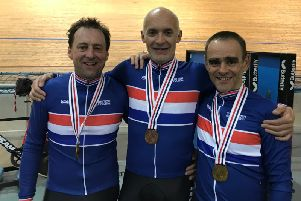 Rob Muzio, Richard Oakes and Mike Twelves wearing their British Champions Jerseys after the official presentation.