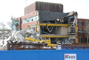 The old Adur Civic Centre being demolished