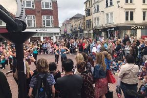 Last year's Summer Busk, where a large crowd gathered to watch Jean Butterworth School of Dancing in Montague Place