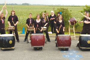 Kakushigei Taiko drummers from William Lovell School, Stickney, 10 years ago.