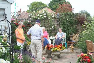 Enjoying one of the colourful gardens