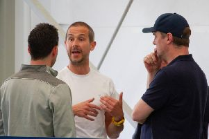 Darin Killpartrick makes a point to the rest of the Chi City management team at training / Picture by Neil Holmes