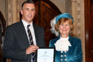 DC Adam Tidy was presented with his award by High Sheriff of West Sussex Davina Irwin-Clark SUS-191107-164802001