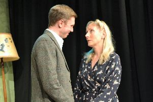 Ben Tanner as Freddie and Leigh Cunningham as Hester in The Deep Blue Sea by Bench Theatre at The Spring Arts Centre in Havant.