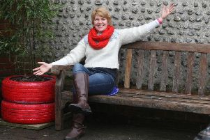Councillor Catherine Arnold made a new bench and planter next to the old post office in Brunswick Road. Photo by Derek Martin Photography.