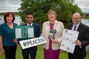MEABC's Patricia Brennan, Remembering Srebrenica UK's Amil Khan, Mayor Cllr Maureen Morrow and NI Chair of Remembering Srebrenica, Peter Osborne