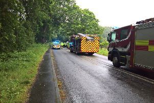 Scene of the crash on sthe A283 at Cootham. Photo: Eddie Mitchell SUS-190719-161300001