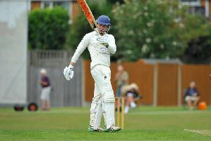 Roffey's Mike Norris salutes the crowd after scoring his ton against Horsham on Saturday. All pictures by Steve Robards