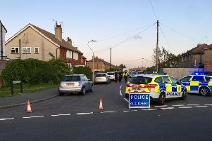 Police at the scene of the collision. Picture: Dan Jessup