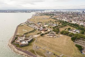 Aerial Photo of workers setting up the Caste Stage for Victorios Festival, Southsea Castle field, Southsea. Picture: Andrew Hurdle