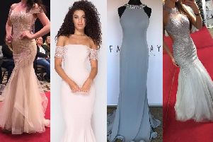 The four dresses, worn by models, stolen from Stefanie Jayne's dress shop