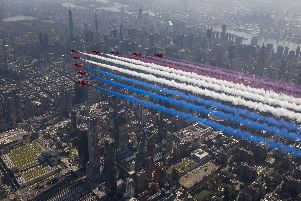 Red Arrows fly over New York City. Picture: Sgt Ashley Keates/RAF/MoD Crown Copyright/PA Wire
