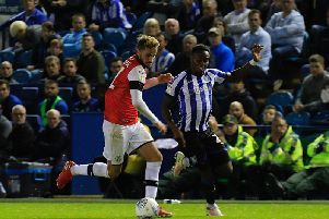 Andrew Shinnie takes on his man against Sheffield Wednesday on Tuesday night