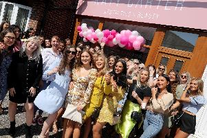Katy Carter, centre in floral dress. Launch party for Katy Carter Aesthetics and Beauty, Tangier Road, Copnor.'Picture: Chris Moorhouse     (180819-37)