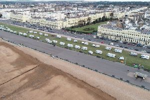 Travellers on Hove Lawns over the weekend. Picture: Eddie Mitchell