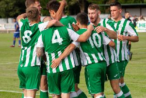 Celebrations late in the game for Chichester City as they get the better of Chalfont / Picture by Neil Holmes