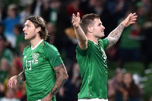 James Collins celebrates his debut goal for Ireland this evening