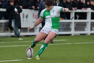 Tom Johnson put on a flawless kicking display but couldnt prevent Horsham from falling to defeat at Chichester. Picture courtesy of Horsham RFC