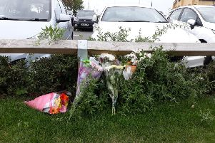 Flowers have been laid in Belmont Street today (Monday). Photo: Kate Shemilt