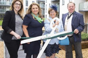 Worthing mayor Hazel Thorpe cuts the ribbon with the help of consulate Robin Rogers, McCarthy and Stone marketing executive Rachael Amberton, left, and sales consultant Christine Mintrim