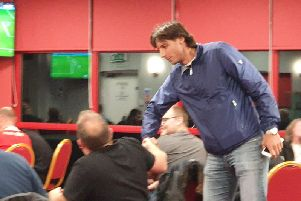 Gabriele Cioffi talks to fans watching the live draw