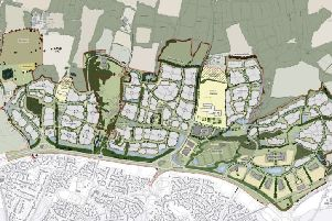 Map of the proposed North Horsham development with the site for the new Bohunt Horsham school SUS-180811-150456001