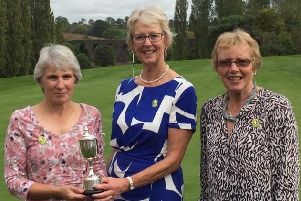 Winner, Linda Long, with the Joyce Menesse trophy, together with Past Lady Captain, Judith Pegler and runner-up Caroline Brown.