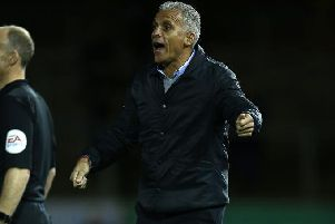 Cobblers boss Keith Curle issues instructions to his team at Carlisle (Picture: Pete Norton)