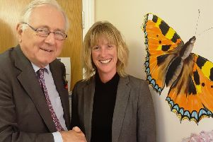 Worthing West MP Sir Peter Bottomley with chief executive Kathryn Slatter at Lifecentre's Worthing counselling centre