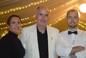 Kenneth Harvey (host) with two of his 'volunteers' - his niece Jenny Spence and his nephew David Clugston.