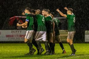 The Hillians celebrate an Aaron Smith-Joseph goal. Picture by Chris Neal