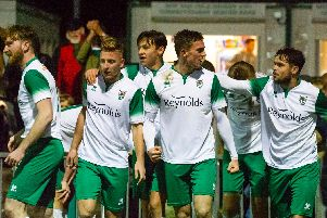 Action and goal celebrations from Bognor's win over Merstham / Pictures by Tommy McMillan