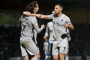 Ryan Williams celebrates his first Pompey goal at Rochdale. Picture: Daniel Chesterton/phcimages.com