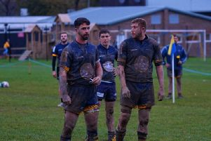 Holbrook try scorer Hallam Potts (left) and Derek Foster. Picture by Juile Boylett