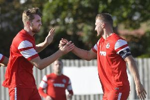 Callum Donaghey (left) grabbed YM's only goal in their 2-1 defeat to Horley Town. Picture by Jon Rigby.