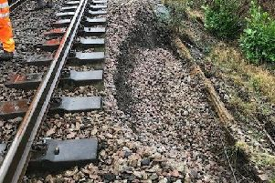 The landslip has closed all lines between Horsham and Dorking. Photo courtesy of Network Rail