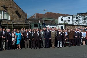 The celebration of the 50th anniversary of the Queen's Regiment at the Horsham Branch held in the Drill Hall, Horsham on Sunday, 26 March 2017. Outside of the Drill Hall the Chairman of the District Council Cllr Christian Mitchell (centre), Colonel Piers Storie-Pugh OBE TD DL (centre left), Chairman of the Queen's Regimental Association (Horsham Branch) Steve Bell (second centre left), President of The Queen's Regimental Association Colonel Antony Beattie (centre right) and with former members of the Queen's Regiment.