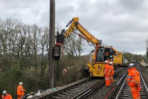Work being carried out to create the steel wall to shore up the landslip. Photo by Network Rail