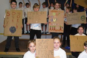 Durrington Junior School pupils designed their own climate change t-shirts to wear on a protest march around the school