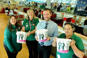 Alison Whitburn, community champion, second left, and colleagues supporting CLIC Sargent at Morrisons Littlehampton