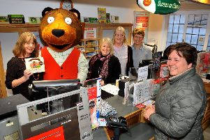 Postman Bear with Julia Donaldson at Steyning Store and Post Office. Picture: Steve Robards SR20020101