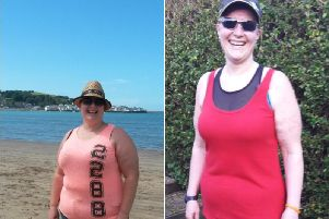 Rachel Baker before (left) her weight loss and after (right).