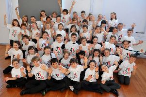 Glebe Primary School pupils in their t-shirts for Young Voices. Picture: Steve Robards SR20020601