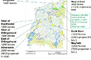 Horsham local plan possible strategic sites. Rookwood Golf Course in Horsham is also being considered (N.B. Mayfield is the name of the promoters not the place name)
