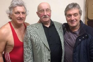 Barry Cooper (left) pictured with Steve Grey (right) and former wrestler Ivan Keemar.