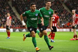 Neal Maupay celebrates his equaliser against Sheffield United with Brighton captain Lewis Dunk