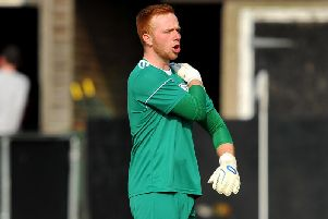 Liam Matthews pulled off a fantastic penalty save but couldn't prevent the Magpies' 3-0 defeat to Lancing on Saturday. Photo by Steve Robards.