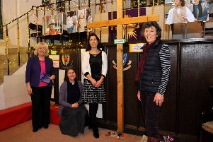 New interactive prayer chapel for Horsham's passion play. Pictured are Rosemary Couchman, Vicar Lisa Barnett, Sarah Holloway, and  Sarah White. Pic Steve Robards SR2002262 SUS-200226-121208001