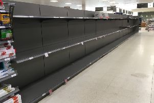 The empty toilet roll aisle in Waitrose, pictured on Saturday.